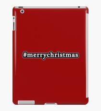 Merry Christmas - Hashtag - Black & White iPad Case/Skin