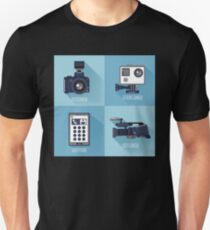 Modern Technologies. Professional Photo and Video Camera, Extreme Camera and Smart Phone.  T-Shirt