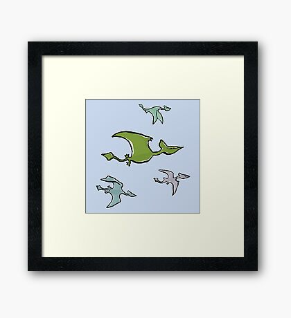 a flock of pterosaurs Framed Print