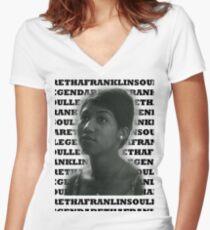 Aretha Franklin Soul Legend Women's Fitted V-Neck T-Shirt