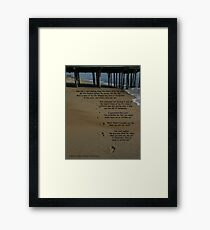 footprints in the sand with poem Framed Print