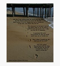 footprints in the sand with poem Photographic Print
