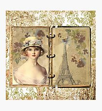 Vintage binder with lady and Eiffel tower Photographic Print