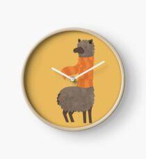 Llama In A Scarf Keeping Warm Clock