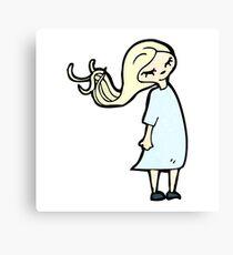 cartoon blond girl Canvas Print