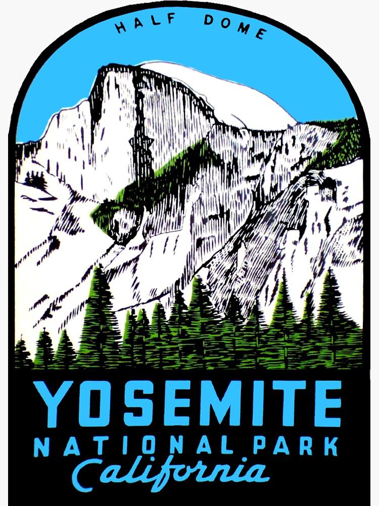Calcomanía de viaje vintage de Half Dome Parque Nacional Yosemite California de hilda74