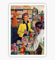 Retro housewife grocery shopping Sticker