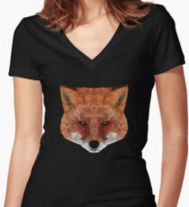 fox. polygonal graphics Women's Fitted V-Neck T-Shirt