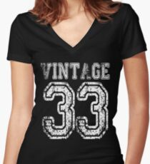 Vintage 33 2033 1933 T-shirt Birthday Gift Age Year Old Boy Girl Cute Funny Man Woman Jersey Style Women's Fitted V-Neck T-Shirt