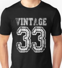 Vintage 33 2033 1933 T-shirt Birthday Gift Age Year Old Boy Girl Cute Funny Man Woman Jersey Style Unisex T-Shirt
