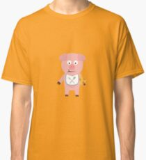 Pig eating Pizza Classic T-Shirt