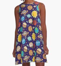 Sonnensystem A-Linien Kleid