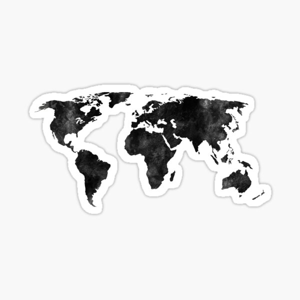 Black and white watercolor map Sticker