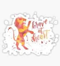 House Lion Brave At Heart Watercolor Sticker