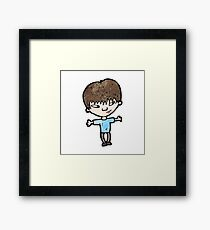 cartoon clever boy Framed Print