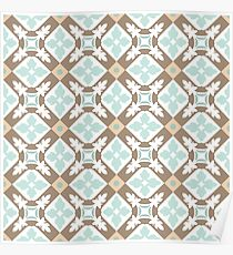 Portuguese tiles seamless pattern. Vintage background Poster