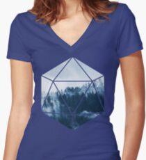 D20 - Misty Treetops Women's Fitted V-Neck T-Shirt