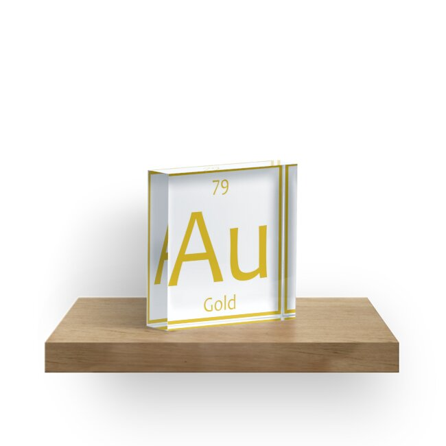 Gold Au Chemical Symbol Acrylic Blocks By The Elements Redbubble