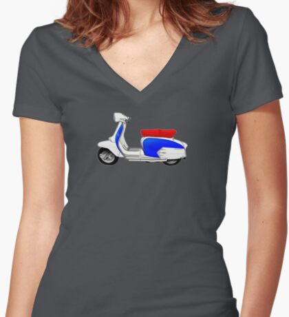 Scooter T-shirts Art: SX200 Dealership Blue Scooter Design Women's Fitted V-Neck T-Shirt