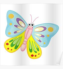 Colorful and happy butterfly cartoon Poster
