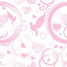 Pink valentine with hearts and doves by Lusy Rozumna