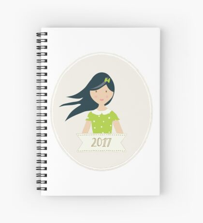 Black Haired Beauty in 2017 Spiral Notebook