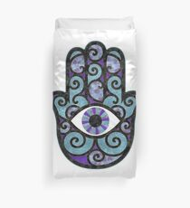 Hamsa Hand - purple and blues Duvet Cover