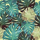 Tropical leaves of leaves monstera by Lusy Rozumna