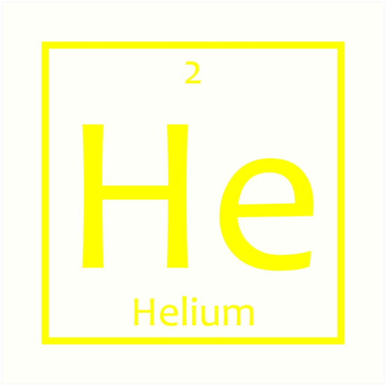 Helium He Chemical Symbol Art Prints By The Elements Redbubble