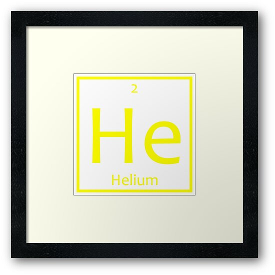 Helium He Chemical Symbol Framed Prints By The Elements Redbubble