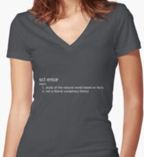 Science study based on fact, not liberal conspiracy theory Women's Fitted V-Neck T-Shirt