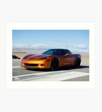 Corvette on Airstrip  Art Print
