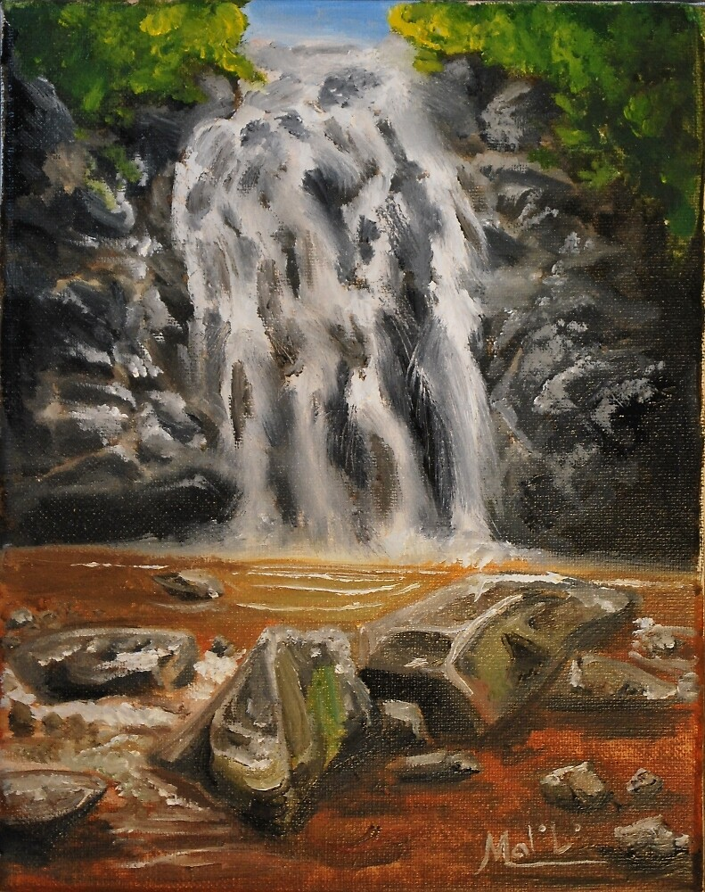 Waterfall Oil Painting by Mark Malinowski