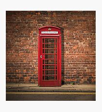 British Phone Box Against Red Brick Wall Photographic Print