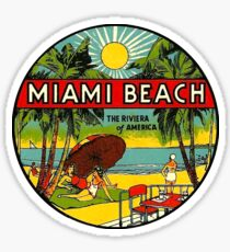 Miami Beach Florida Weinlese-Reise-Abziehbild 3 Sticker