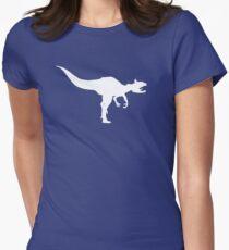 Cryolophosaurus Dinosaur Silhouette (White) Women's Fitted T-Shirt