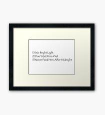 Rules of Mogwai Framed Print