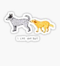 Australian Cattle Dog, Blue Heeler, Red Heeler, I Like Your Butt, by Artwork by AK Sticker