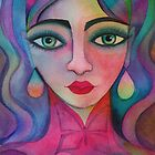 Girl with rainbow earrings by Karin Zeller