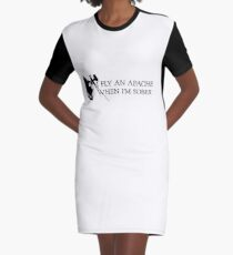 Apache Helicopter Graphic T-Shirt Dress