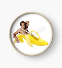 Nicolas Cage In A Banana - Bright Yellow Clock