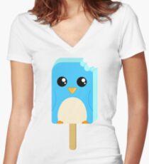 Cute Penguin Popsicle  Women's Fitted V-Neck T-Shirt
