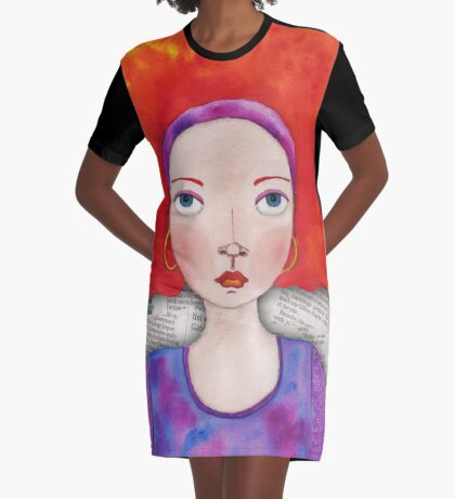 Flame Red Graphic T-Shirt Dress
