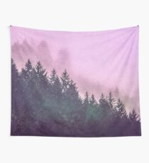 Fog Forest - Pink and Green Misty Mountain Pass Wall Tapestry