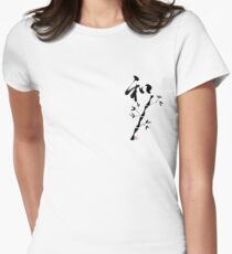 "Japanese Kanji for ""Harmony"" and bamboo  Womens Fitted T-Shirt"