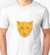 Cougar Mountain Lion Kopf Mono Linie Unisex T-Shirt