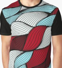 Red blue knit Graphic T-Shirt
