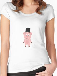 Groom Pig with Hat and bow tie Women's Fitted Scoop T-Shirt