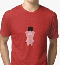 Groom Pig with Hat and bow tie Tri-blend T-Shirt