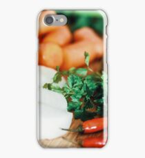 Onion, Carrots, Bell Peppers, Garlic And Parsley Raw Vegetables Ingredients On Wood iPhone Case/Skin